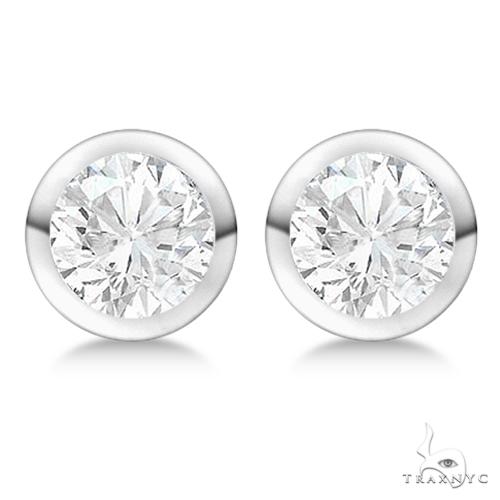 Bezel Set Diamond Stud Earrings 18kt White Gold H-I, SI2-SI3 Stone