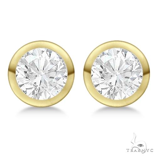 Bezel Set Diamond Stud Earrings 18kt Yellow Gold H, SI1-SI2 Stone