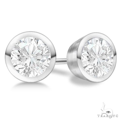 Bezel Set Diamond Stud Earrings Palladium G-H, VS2-SI1 Stone