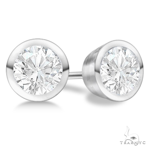 Bezel Set Diamond Stud Earrings Palladium H, SI1-SI2 Stone