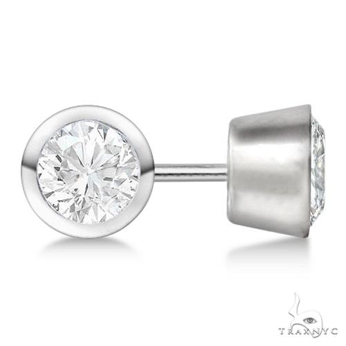Bezel Set Diamond Stud Earrings Platinum H-I, SI2-SI3 Stone