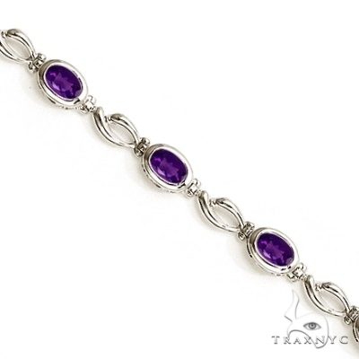 Bezel-Set Oval Amethyst Link Bracelet in 14K White Gold (6x4mm) Gemstone & Pearl