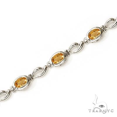 Bezel-Set Oval Citrine Link Bracelet in 14K White Gold (6x4mm) Gemstone & Pearl