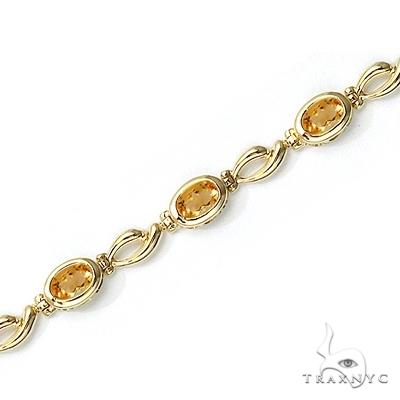 Bezel-Set Oval Citrine Link Bracelet in 14K Yellow Gold (6x4mm) Gemstone & Pearl