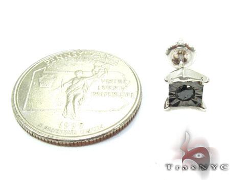 Bezel Single Black Diamond Earrings 26060 Stone
