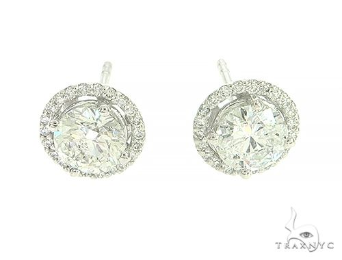 Big Center Stone Diamond Stud Earrings 65871 Stone
