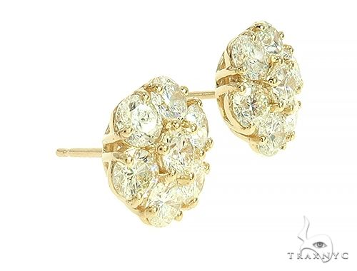 Big Diamond Flower Stud Earrings 65869 Stone