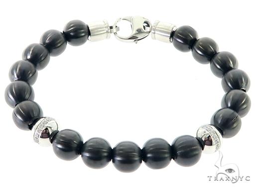 Black Beads Bracelet 57436 Stainless Steel
