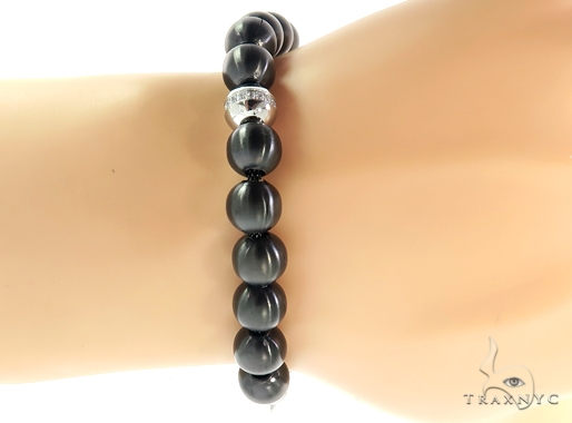 Black Beads Bracelet 57436 Stainless Steel