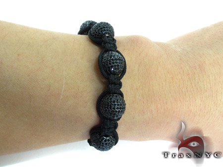 Black Crystal Rope Bracelet 27741 Silver