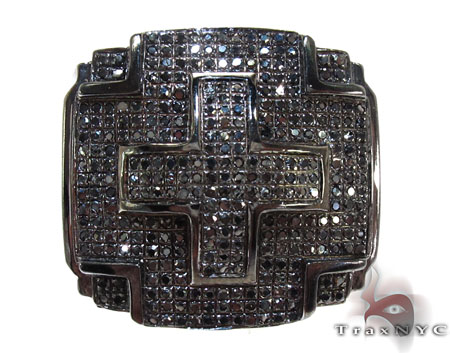 Black Diamond Cross Crucifix Ring Stone