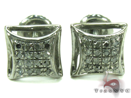 Black Diamond Silver Stud Earrings 27649 Metal