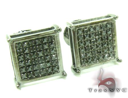 Black Diamond Square Silver Earrings 27625 Stone