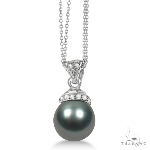 Black Freshwater Cultured  Pearl and Diamond Pendant 0.04ctw (9mm) Stone