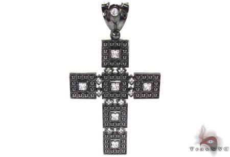 Black Rhodium Silver CZ Cross Crucifix Silver