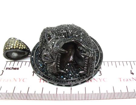 Black Rhodium Silver Cougar Pendant Metal
