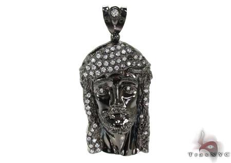 Black Silver Jesus Pendant 25011 Metal