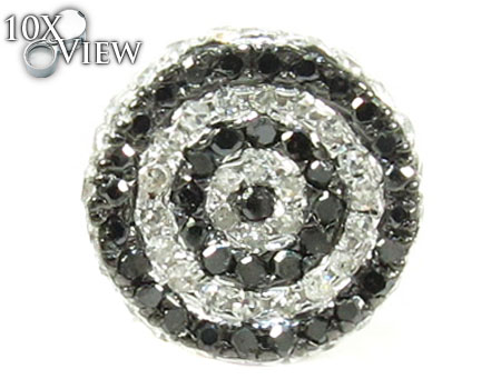 Black and White Circle Diamond Earrings Stone