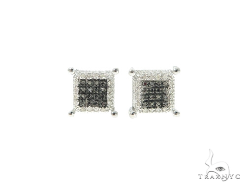 Black and White Diamond Silver Earrings 57686 Metal