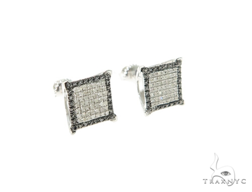 Black and White Diamond Silver Earrings 57690 Metal
