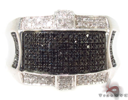 Black and White Prong Diamond Silver Ring 31508 Metal