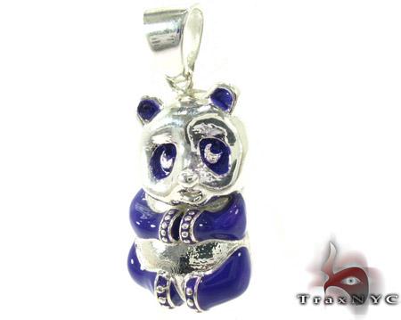 Purple Enamel Panda Pendant Metal
