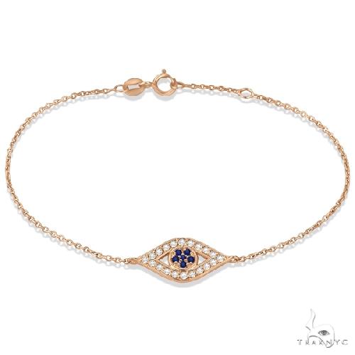 Blue Sapphire Evil Eye Diamond Bracelet in 14k Rose Gold Gemstone & Pearl