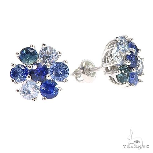 Large Water Sapphire Flower Earrings 66791 Style