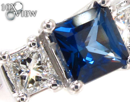 deep Blue Sapphire & Diamond, princess cut Ring 31561 Anniversary/Fashion