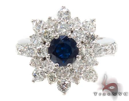 round cut Sapphire & Diamond Bouquet Ring 32017 Anniversary/Fashion