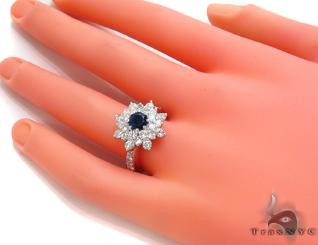 round cut Sapphire & Diamond Bouquet Ring 32017 Anniversary/Fashion