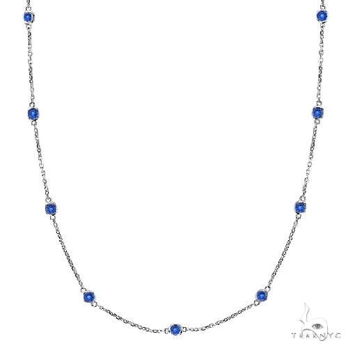 Blue Sapphires Gemstones by The Yard Necklace 14k White Gold Gemstone