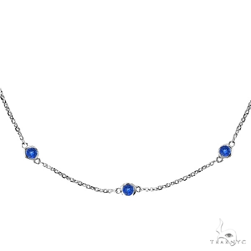 Blue Sapphires Gemstones by The Yard Necklace 14k White Gold Gemstone
