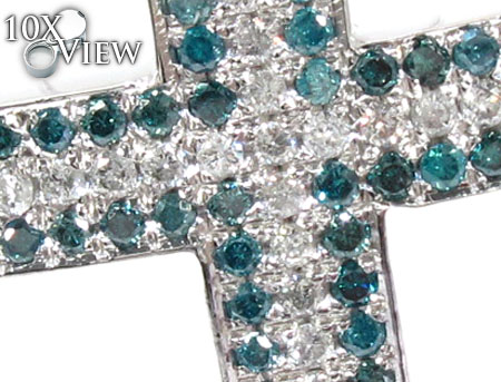 Blue and White Diamond Cross Crucifix Diamond