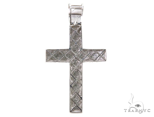 Blue and White Diamond Pave Cross 39503 Diamond