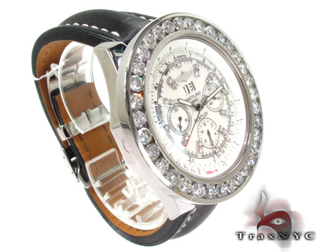 Breitling Bently Diamond Bezel Leather Band Watch Breitling