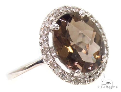 Brown Gemstone Diamond Silver Ring 36829 Anniversary/Fashion