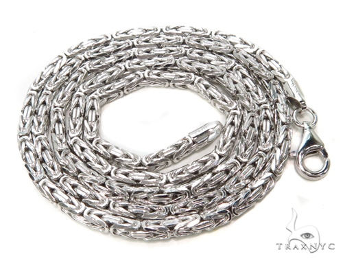 Byzantine Silver Chain 24 Inches 3mm 38.3 Grams-40076 Silver