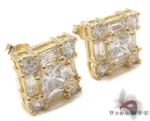 CZ 10K Gold Earrings 34240 Metal