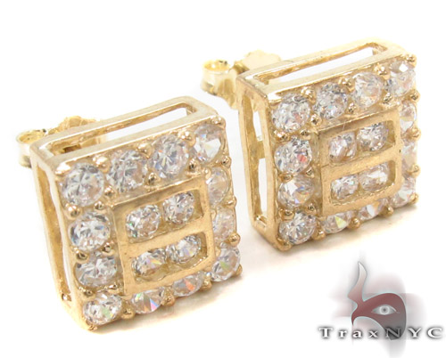 CZ 10K Gold Earrings 34241 Metal