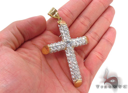 CZ 10K Gold Cross 33639 Gold