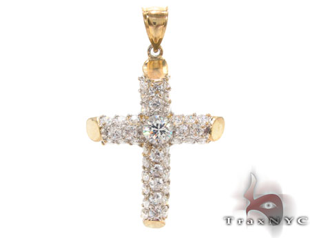 CZ 10K Gold Cross Crucifix 33640 Gold