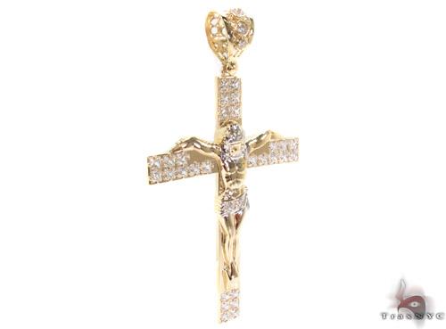 CZ 10K Gold Cross Crucifix 34016 Gold