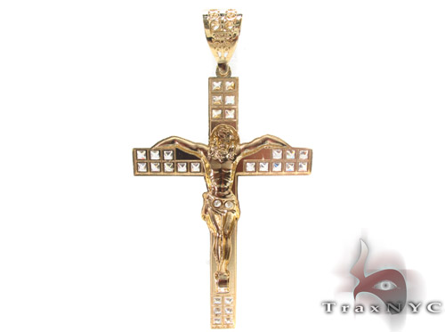CZ 10K Gold Cross Crucifix 34017 Gold