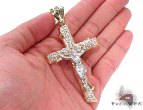 CZ 10K Gold Cross Crucifix 34060 Gold