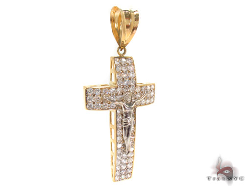CZ 10K Gold Cross Crucifix 34065 Gold