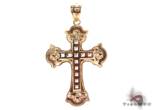 CZ 10K Gold Cross Crucifix 34084 Gold