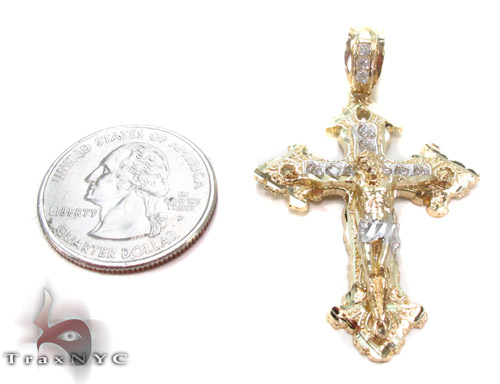CZ 10K Gold Cross Crucifix 34089 Gold