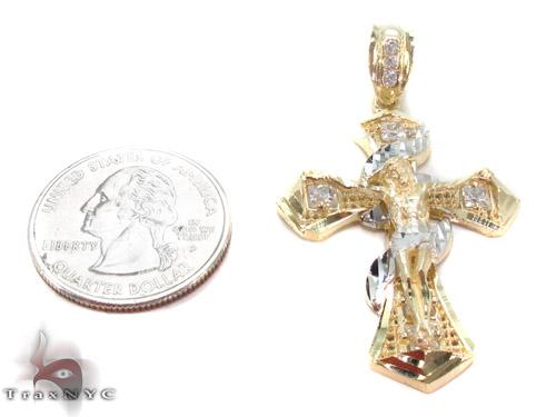 CZ 10K Gold Cross Crucifix 34090 Gold