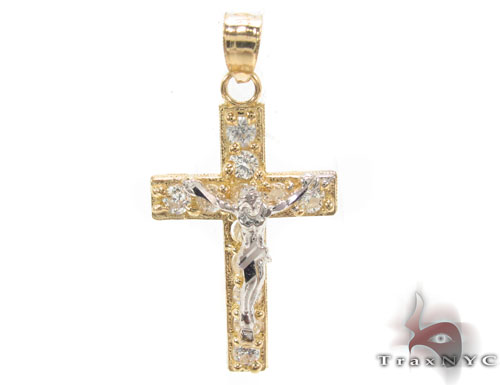 CZ 10K Gold Cross Crucifix 34136 Gold